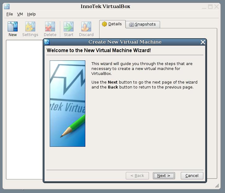 Ecco un esempio dal sito di VirtualBox.
