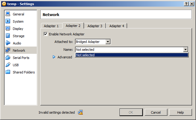 14127 (No bridged network adapter is currently selected