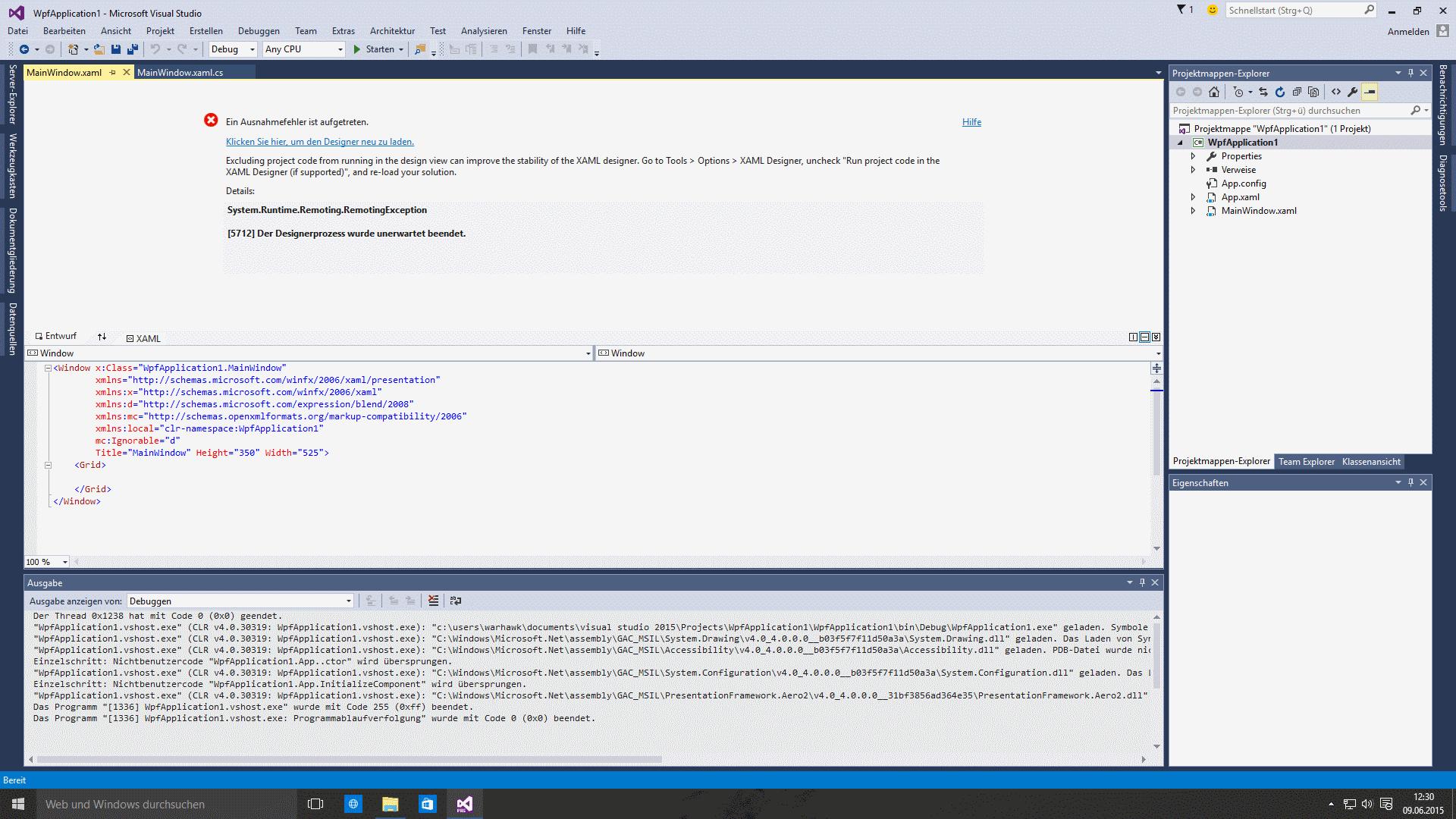 14190 (Starting a WPF-Application under Windows 10130 crash ...