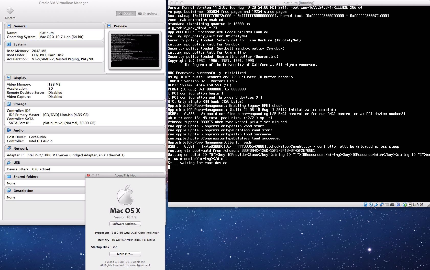 OSX Mountain Lion (Still Waiting For Root Device) - YouTube