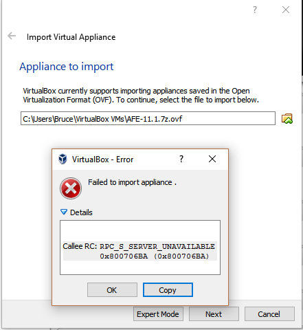 15824 (Failed to import appliance   Callee RC