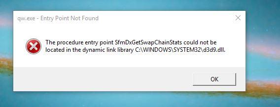 17110 (d3d9 dll error/Starting Quicken2015/Starting Adobe