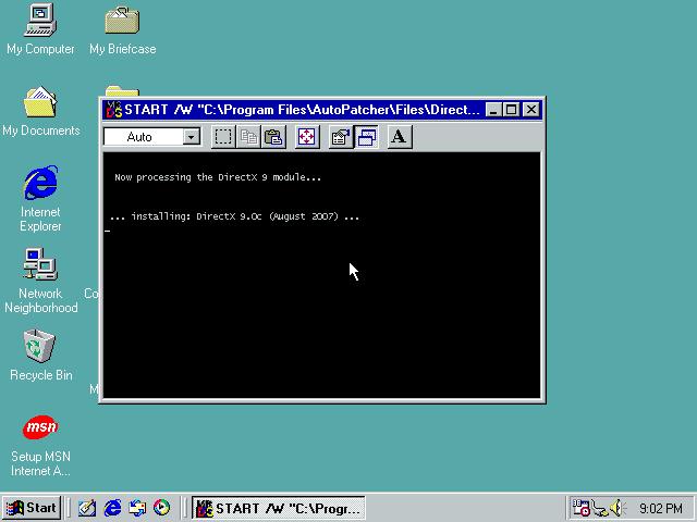 17288 (Crash while installing DirectX 9 0c on Windows 98