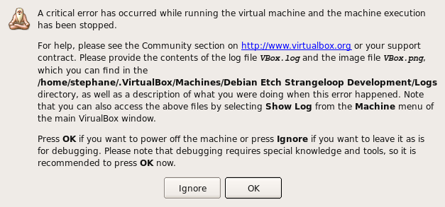 a critical error has occurred while running the machine