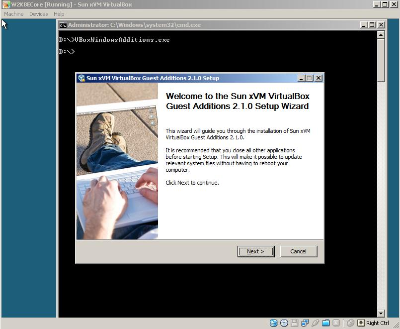 2628 (Guest Additions Error on server 2008 core) – Oracle VM
