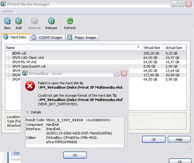 4735 (Harddisk Error) – Oracle VM VirtualBox