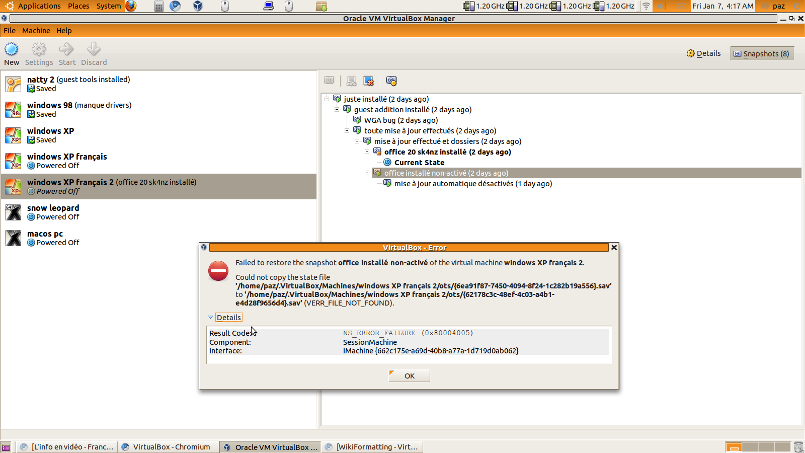 8024 (virtualbox doesn't found files for restore snapshots => Fixed