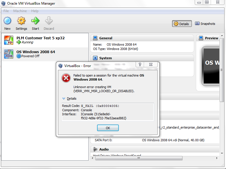 Vm Session Oracle Open To 9190 failed Virtualbox –