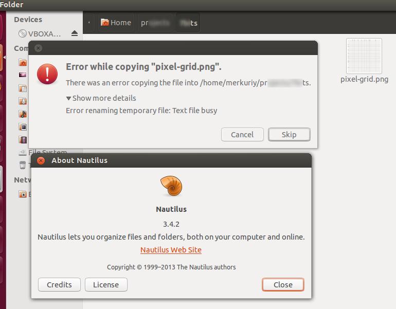 Bug with Nautilus in Ubuntu 12.10
